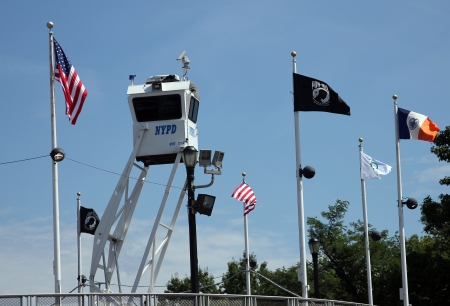 FLUSHING, NY- AUGUST 26:NYPD Sky Watch platform ready to protect public at Billie Jean King National Tennis Center on August 26, 2012 in Flushing, NY