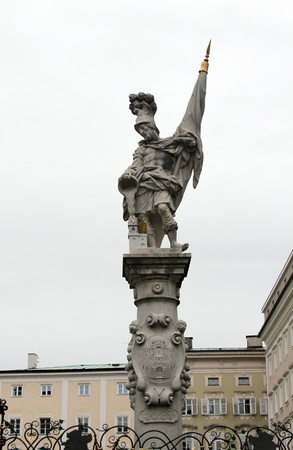 patronage:  Statue of St. Florian on September 1, 2012 in Salzburg, Austria