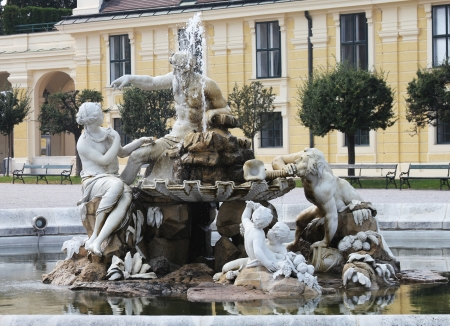 VIENNA, AUSTRIA - SEPTEMBER 3: Renaissance fountain at the Schonbrunn palace on September 3, 2012 in Vienna, Austria Stock Photo - 17051035
