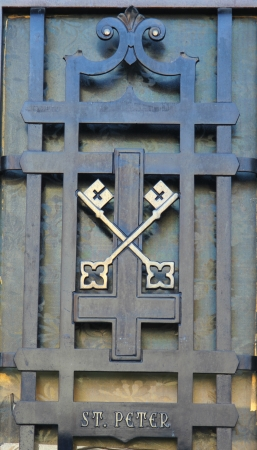 kingdom of heaven: Keys of Saint Peter.  The crossed keys in the emblem of the papacy symbolize the keys of heaven.