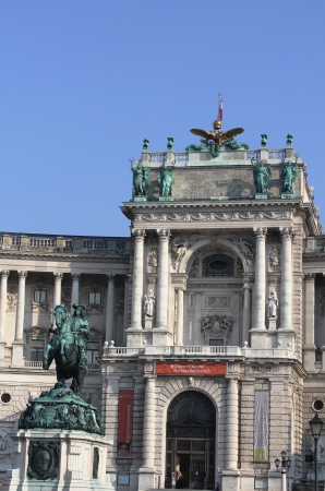 eugene:   The statue of Prince Eugene of Savoy in front of  Hofburg Palace Neue Burg section,Vienna, Austria