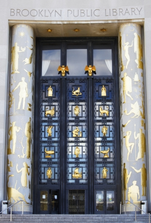 BROOKLYN, NEW YORK  NOVEMBER 4: Art Deco Door Into Brooklyn Central Public  Library