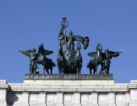 The Quadriga statue surrounded by winged Victory figures on top of the Soldiers and Sailors Monument at the Grand Army plaza on November 4, 2012 in Brooklyn, New York