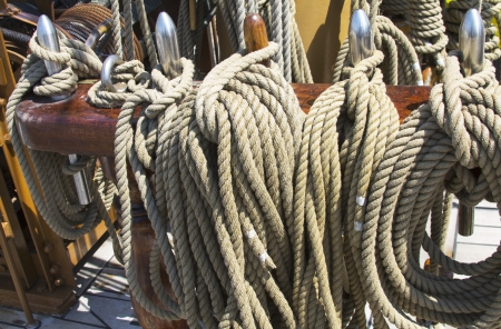Rigging  on vintage tall sail boat Stock Photo