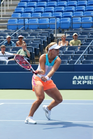 louis armstrong: FLUSHING, NY - AUGUST 23: Professional tennis player Angelique Kerber practices for US Open at Louis Armstrong Stadium at Billie Jean King National Tennis Center on August 23, 2012 in Flushing, NY