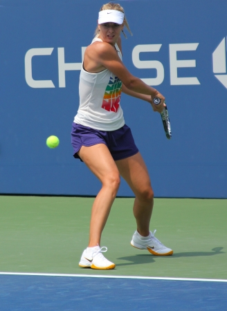 louis armstrong: FLUSHING, NY - AUGUST 23:Four times Grand Slam champion Maria Sharapova practices for US Open at Louis Armstrong Stadium at Billie Jean King National Tennis Center on August 23, 2012 in Flushing, NY.