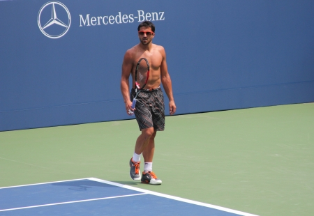 grand hard: FLUSHING, NY - AUGUST 23: Professional tennis player Janko Tipsarevic practices for US Open at Billie Jean King National Tennis Center on August 23, 2012 in Flushing, NY