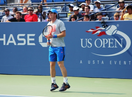 FLUSHING, NY - AUGUST 23:  Grand Slam champion Andy Murray practices for US Open at Louis Armstrong Stadium at Billie Jean King National Tennis Center on August 23, 2012 in Flushing, NY.  Stock Photo - 17392951