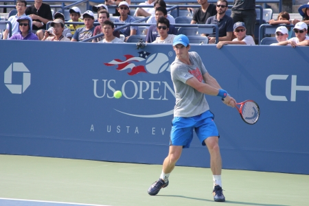 FLUSHING, NY - AUGUST 23:  Grand Slam champion Andy Murray practices for US Open at Louis Armstrong Stadium at Billie Jean King National Tennis Center on August 23, 2012 in Flushing, NY.  Stock Photo - 17392961