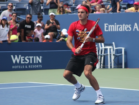 FLUSHING, NY - AUGUST 25: Seventeen times  Grand Slam champion Roger Federer practices for US Open at Louis Armstrong Stadium at Billie Jean King National Tennis Center on August 25, 2012 in Flushing, NY.