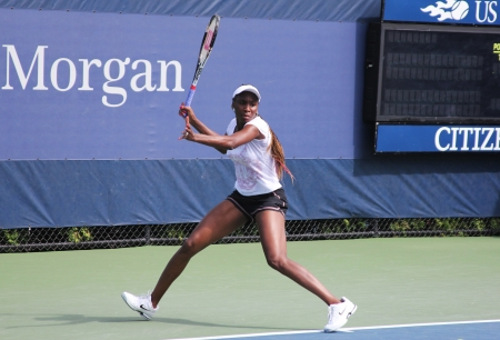 billie: FLUSHING, NY - AUGUST 26: Seven times Grand Slam champion Venus Williams practices for US Open at Billie Jean King National Tennis Center on August 26, 2012 in Flushing, NY.   Editorial