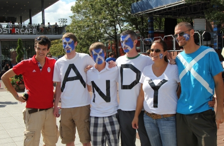 FLUSHING, NY - SEPTEMBER 10:  Andy Murray's  fans ready for final match at US OPEN 2012  at Billie Jean King National Tennis Center on September 10, 2012 in Flushing, NY Stock Photo - 17392959