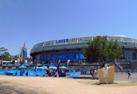 MELBOURNE, AUSTRALIA - JANUARY 29:Rod Laver arena  at Australian tennis center on January, 29,2009 in MELBOURNE, AUSTRALIA. It is the main venue for the Australian Open  tennis championship since 1988