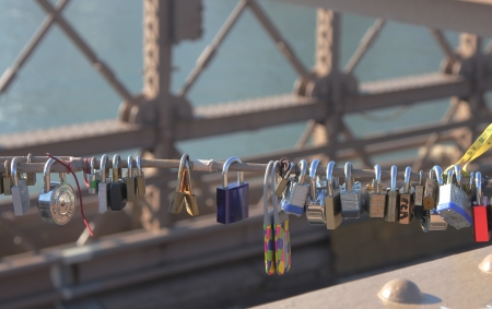 BROOKLYN, NEW YORK - JANUARY 6  Love locks at the Brooklyn Bridge on January 6, 2013 in Brooklyn, New York  Ritual of affixing padlocks, as symbol of love, to bridge is spread in Europe from 2000s