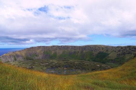 rapa nui: Rano Kau cráter del volcán, Isla de Pascua, Chile