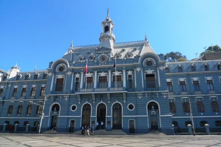 general cultural heritage: VALPARAISO, CHILE - MARCH 22: Armada de Chile building at Plaza Sotomayor on March 22, 2012 in Valparaiso.  It is the National Headquarters of the Chilean Navy. Armada de Chile is the naval force of Chile.
