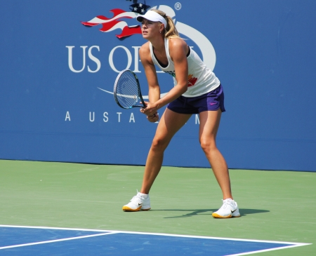 louis armstrong: FLUSHING, NY - AUGUST 23: Four times Grand Slam champion Maria Sharapova practices for US Open at Louis Armstrong Stadium at Billie Jean King National Tennis Center on August 23, 2012 in Flushing, NY.