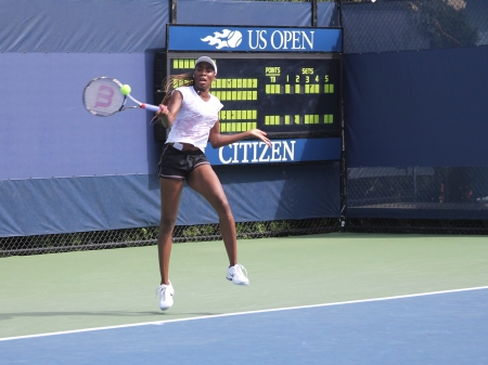 flushing: FLUSHING, NY - AUGUST 26: Seven times Grand Slam champion Venus Williams practices for US Open at Billie Jean King National Tennis Center on August 26, 2012 in Flushing, NY.