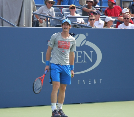 FLUSHING, NY - AUGUST 23: Grand Slam champion Andy Murray practices for US Open at Louis Armstrong Stadium at Billie Jean King National Tennis Center on August 23, 2012 in Flushing, NY.  Stock Photo - 17522934