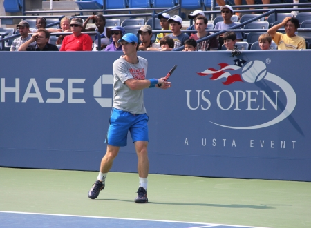 FLUSHING, NY - AUGUST 23: Grand Slam champion Andy Murray practices for US Open at Louis Armstrong Stadium at Billie Jean King National Tennis Center on August 23, 2012 in Flushing, NY.