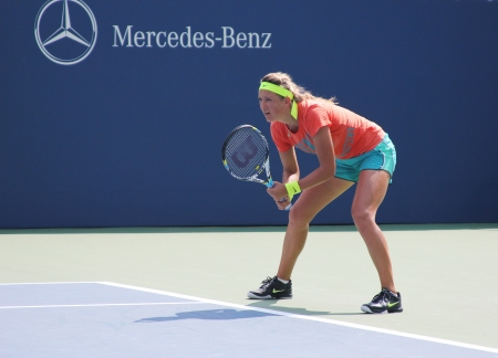grand hard: FLUSHING, NY - AUGUST 25: Two times Grand Slam champion Victoria Azarenka practices for US Open at Louis Armstrong Stadium at Billie Jean King National Tennis Center on August 25, 2012 in Flushing, NY.  Editorial