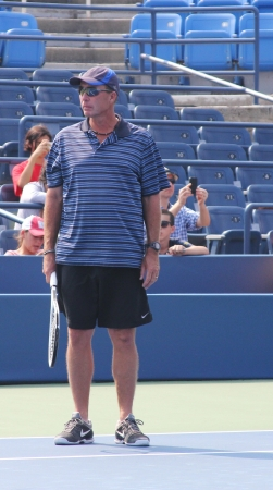 FLUSHING, NY - AUGUST 23: Eight times Grand Slam champion Ivan Lendl coaching Grand Slam champion Andy Murray for US Open at Louis Armstrong Stadium at Billie Jean King National Tennis Center on August 23, 2012 in Flushing, NY.  Stock Photo - 17522425