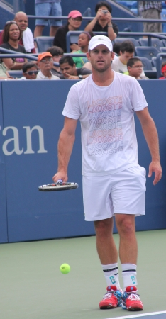 FLUSHING, NY - AUGUST 25: Grand Slam champion Andy Roddick practices for US Open at Louis Armstrong Stadium at Billie Jean King National Tennis Center on August 25, 2012 in Flushing, NY.  Stock Photo - 17522924