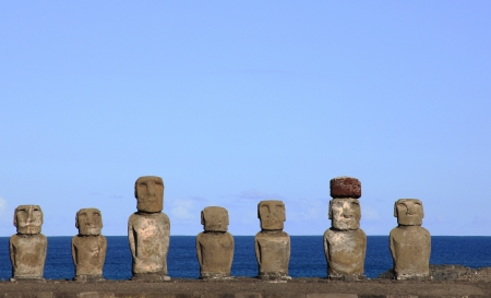 Moai at Ahu Tongariki, Easter Island, Chile Stock Photo - 17522484