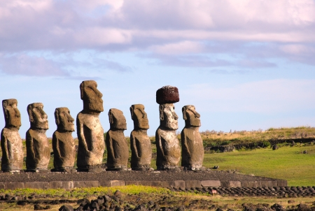 rapa: Moai at Ahu Tongariki, Easter Island, Chile