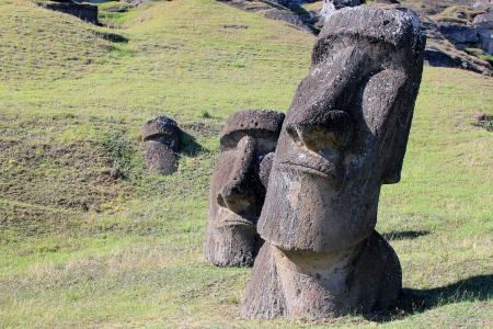 polynesia: Moai at Quarry, Easter Island, Chile