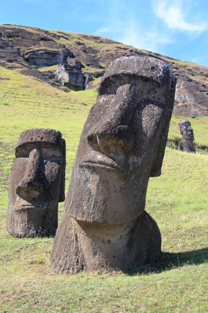 island: Moai at Quarry, Easter Island, Chile