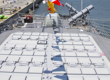 STATEN ISLAND, NEW YORK - MAY 29: Tomahawk cruise missile and  Harpoon cruise missile launchers on the deck of US Navy destroyer during Fleet Week 2012 on May 29, 2012 in Staten Island, New York