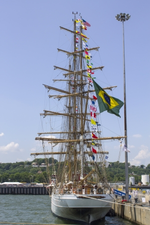 STATEN ISLAND, NEW YORK - MAY 29: Brazilian tall ship Cisne Branco visits New york during Fleet Week 2012 on May 29, 2012 in Staten Island, New York