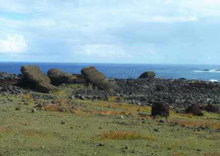 Platform with fallen moai and topknots at Easter Island, Chile Stock Photo - 17693582