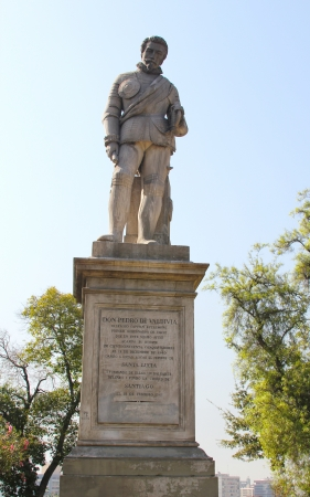 SANTIAGO, CHILE - MARCH 29:Statue of Don Pedro de Valdivia at Cerro Santa Lucia on March 29, 2012 in Santiago, Chile. He was founder of Santiago  and the first royal governor of Chile Stock Photo - 17808975