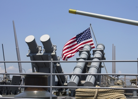 STATEN ISLAND, NEW YORK - MAY 29:Harpoon cruise missile launchers on the deck of US Navy destroyer during Fleet Week 2012 on May 29, 2012 in Staten Island, New York