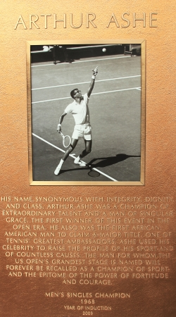 FLUSHING, NY - JULY 7: Arthur Ashe plaque at US Open Court of Champions at Billie Jean King National Tennis Center on July 7, 2012 in Flushing, NY.  Editorial