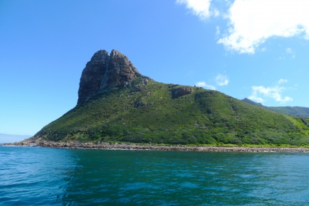 sentinel: The Sentinel Peak at the Hout Bay harbour near Cape Town, South Africa