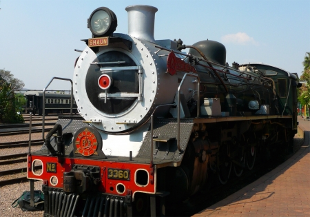 Steam  train about to depart from Capital Park Station in Pretoria  Pride of Africa train is  one of the World s Top 25 Trains