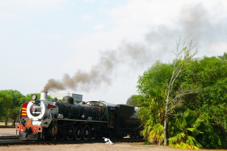 depart: Steam  train about to depart from Capital Park Station in Pretoria  Pride of Africa train is  one of the World s Top 25 Trains