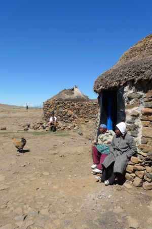SANY PASS,LESOTHO -SEPTEMBER 19:Unidentified family at Sani Pass, Lesotho on September 19, 2009 at an altitude of 2 874m. Lesotho,officially the Kingdom of Lesotho, is a landlocked country and enclave