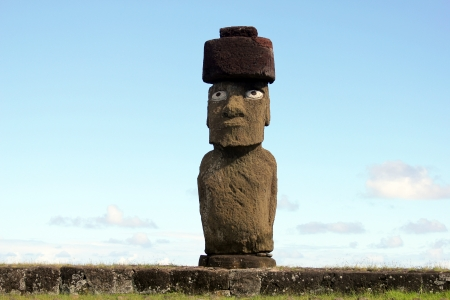 topknot: The only moai with eyes at Easter Island