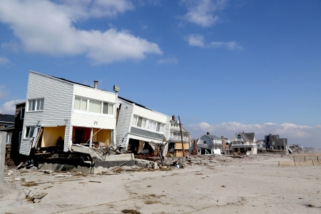 far rockaway: FAR ROCKAWAY, NY - FEBRUARY 28: Destroyed beach houses in devastated area four months after  Hurricane Sandy on February, 28, 2013 in Far Rockaway, NY