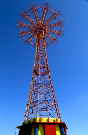 BROOKLYN, NEW YORK - MARCH 5: Parachute jump tower  - famous Coney Island landmark in Brooklyn on March 5, 2013. It has been called the Eiffel Tower of Brooklyn