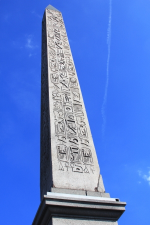 The Obelisk of Luxor. 23 meters high Egyptian obelisk standing at the center of the Place de la Concorde in Paris, France