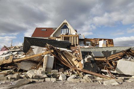 ny: FAR ROCKAWAY, NY - NOVEMBER 4: Destroyed beach house in the aftermath of Hurricane Sandy on November 4, 2012 in Far Rockaway, NY
