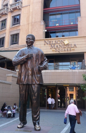 JOHANNESBURG, SOUTH AFRICA - SEPTEMBER 8: Statue of Nelson Mandela  on September, 8, 2009 in Johannesburg. 6-meters statue was installed at Nelson Mandela square in 2004