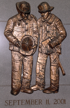 BROOKLYN, NEW YORK - MARCH 9 : FDNY fallen firefighters memorial on March 9, 2011 in Brooklyn, NY. 343 firefighters were killed when World Trade Center buildings collapsed on September 11, 2001 에디토리얼