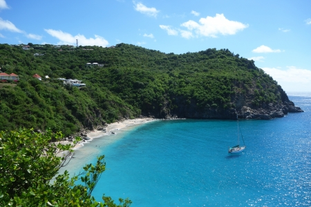 Areal view at Shell beach, St  Barths, French West Indies