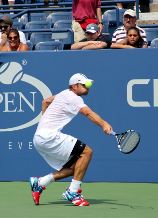 grand hard: FLUSHING, NY - AUGUST 25: Grand Slam champion Andy Roddick practices for US Open at Louis Armstrong Stadium at Billie Jean King National Tennis Center on August 25, 2012 in Flushing, NY.